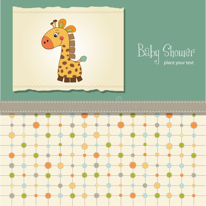 Carte enfantine de douche de chéri avec la giraffe illustration stock