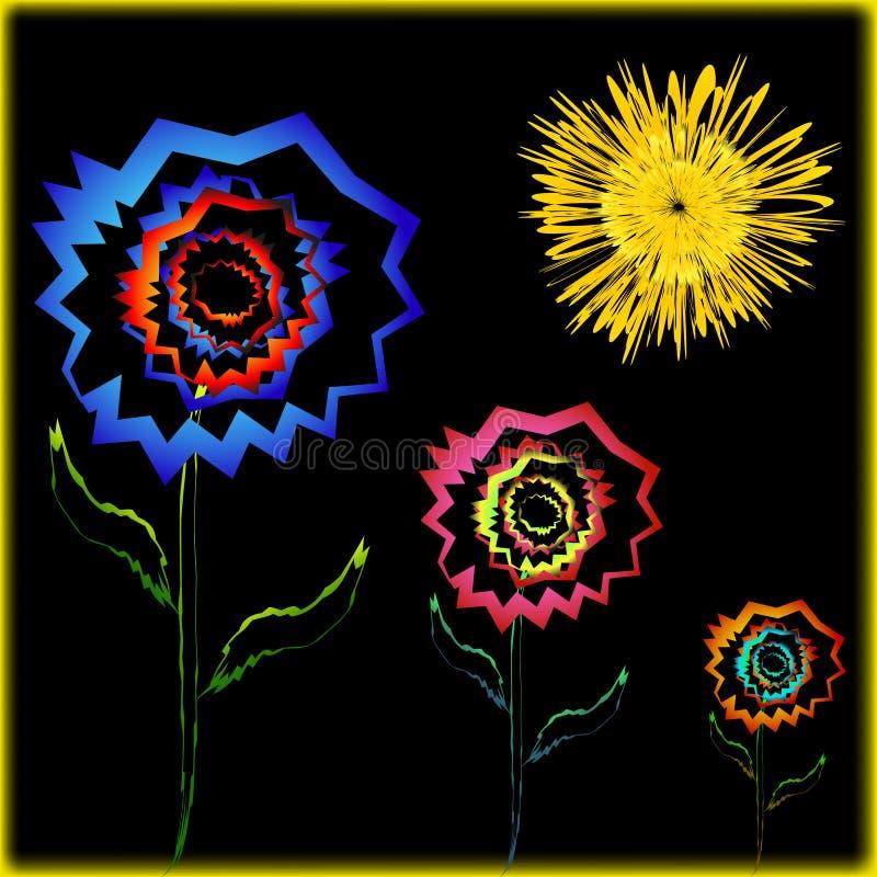 Carte ensoleillée originale avec des fleurs illustration de vecteur