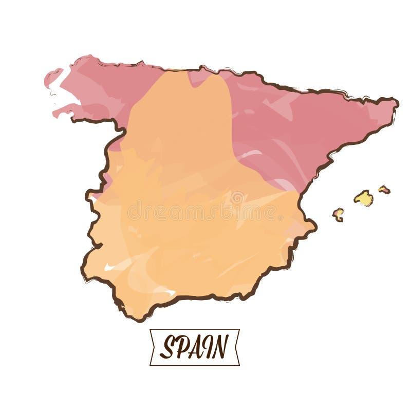 Carte espagnole d'isolement illustration libre de droits
