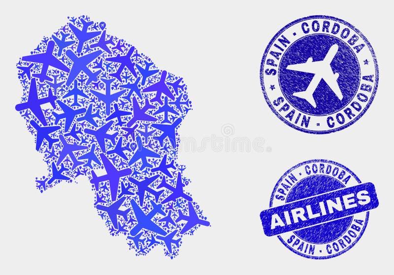 Carte espagnole de province de Cordoue de vecteur de composition en lignes aériennes et joints grunges illustration de vecteur