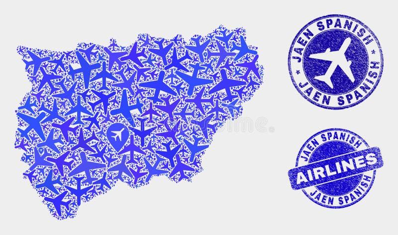 Carte espagnole de province de Jaen de vecteur de composition en aviation et timbres grunges illustration stock