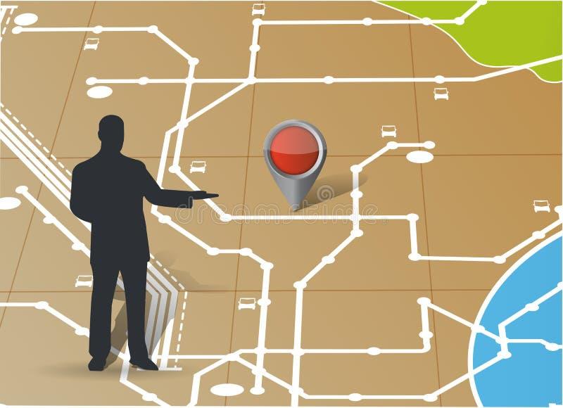 Carte et avatar dirigeant un emplacement Illustration illustration stock