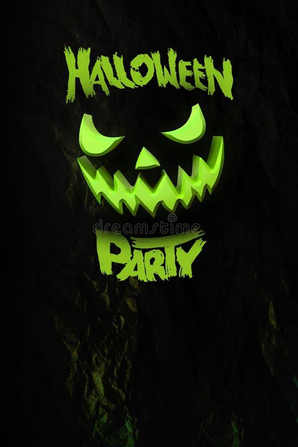 Carte et brochure heureuses de nuit de partie de Halloween potiron de Halloween, conception foncée Fond, affiche et bannière illu image libre de droits