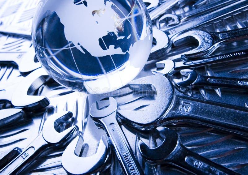 Carte et clés du monde image libre de droits