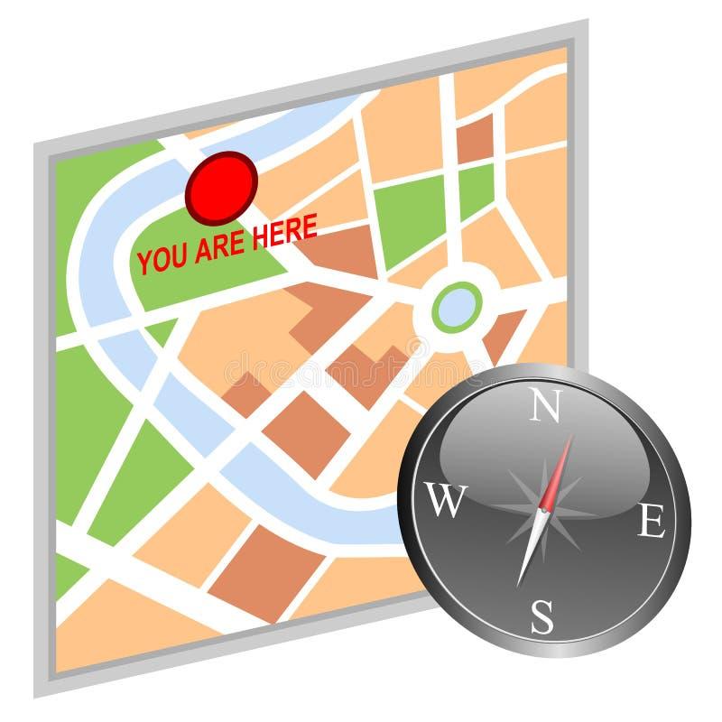 Carte et compas illustration de vecteur