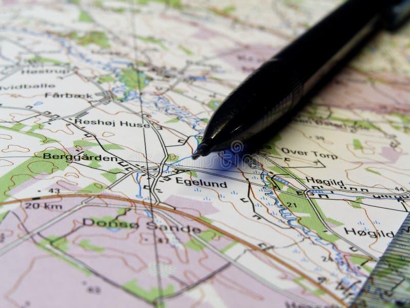 Carte et crayon image libre de droits