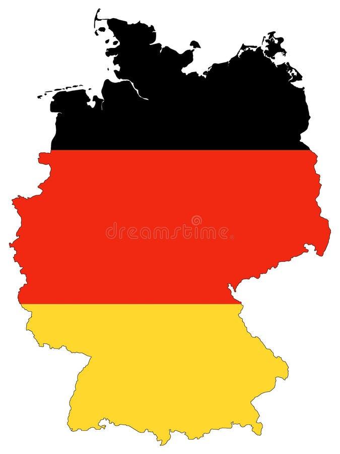 Carte et drapeau combinés de l'Allemagne illustration libre de droits