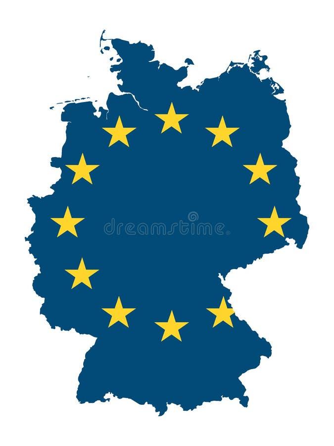 Carte et drapeau combinés de pays de l'UE de l'Allemagne illustration stock