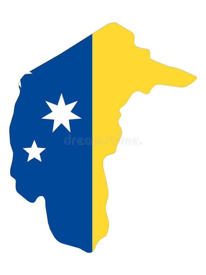 Carte et drapeau combinés du territoire capitale australien illustration de vecteur