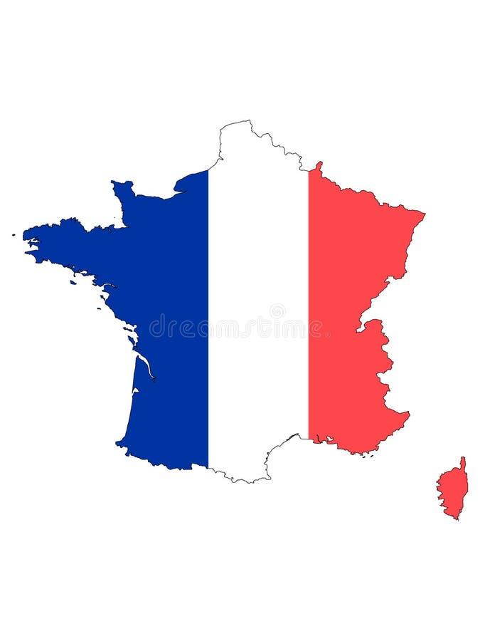 Carte et drapeau combin?s de la France illustration libre de droits