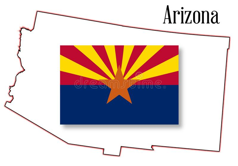 Carte et drapeau d'état de l'Arizona illustration libre de droits