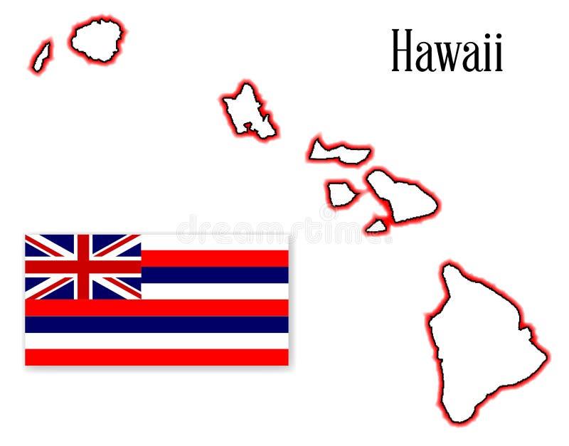 Carte et drapeau d'état d'Hawaï illustration libre de droits