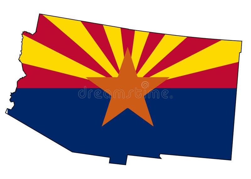 Carte et drapeau d'ensemble d'état de l'Arizona illustration de vecteur