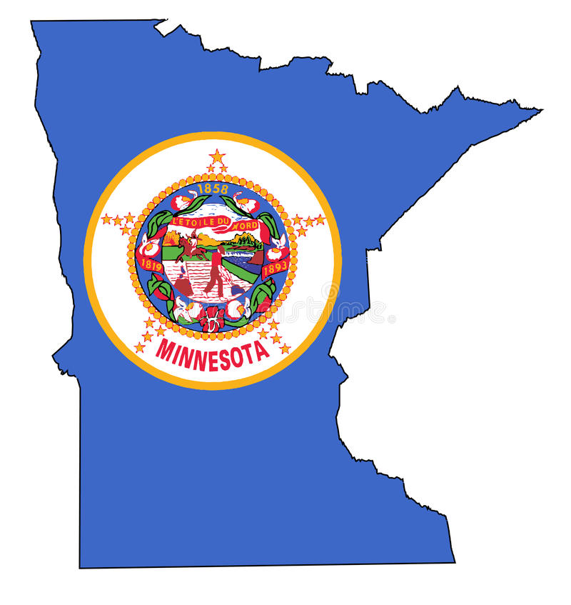 Carte et drapeau d'ensemble du Minnesota illustration de vecteur