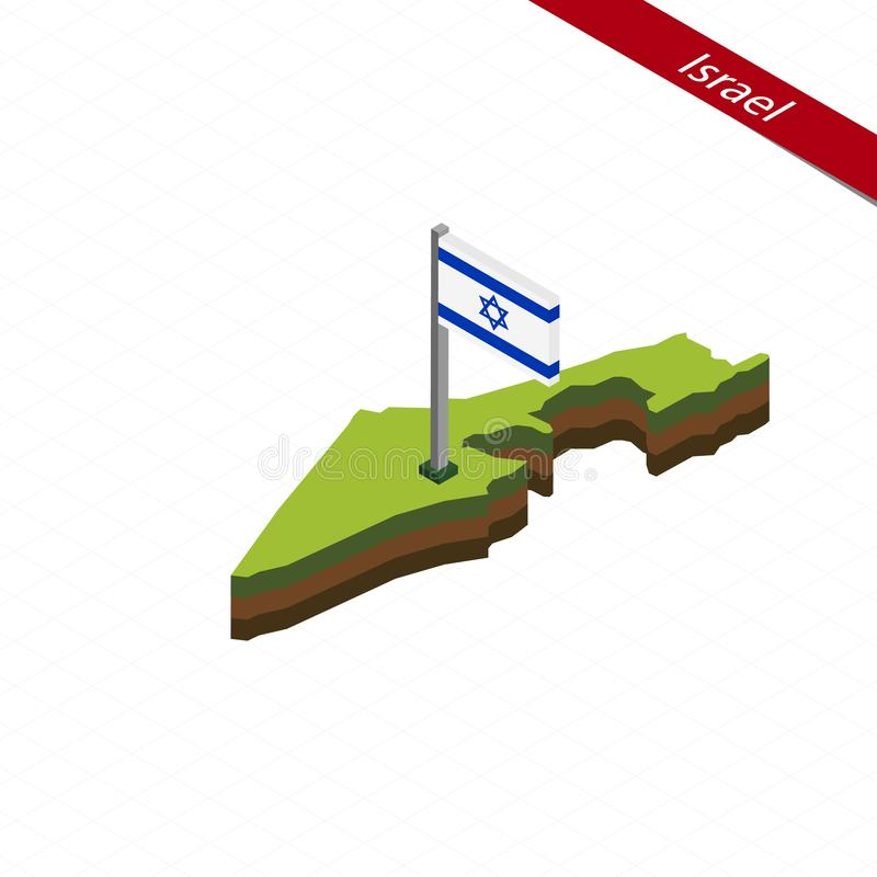 Carte et drapeau d'Israel Isometric Illustration de vecteur illustration stock