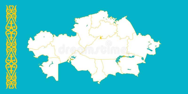 Carte et drapeau de Kazakhstan illustration de vecteur