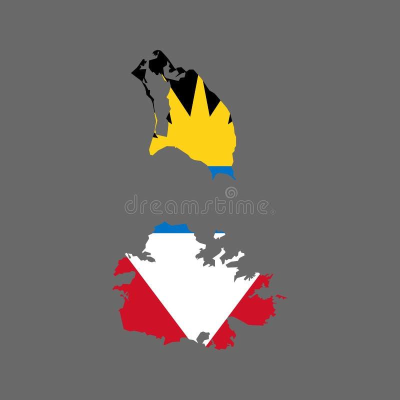 Carte et drapeau de l'Antigua-et-Barbuda illustration de vecteur