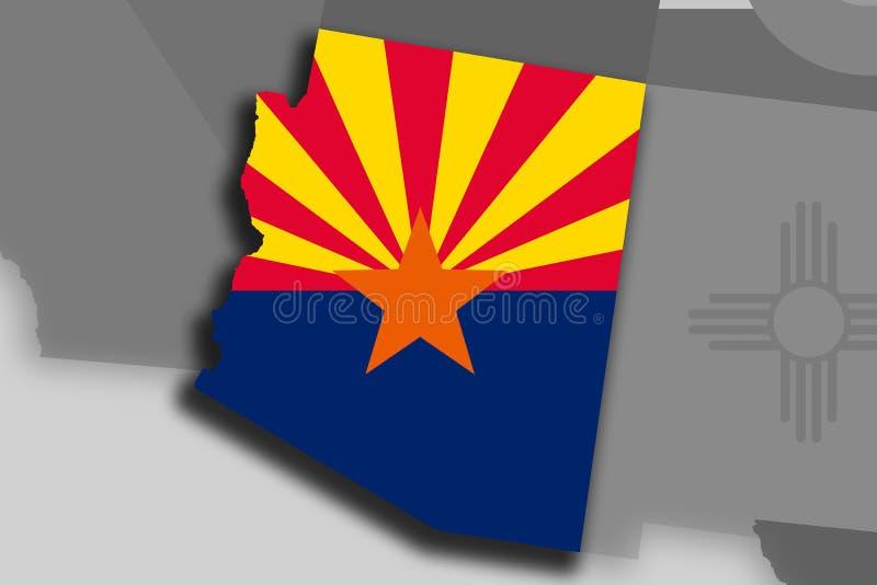 Carte et drapeau de l'Arizona illustration libre de droits