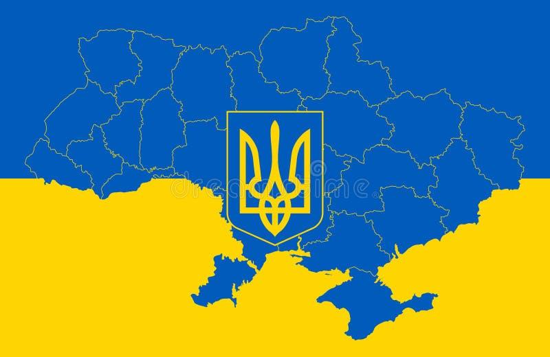 Carte et drapeau de l'Ukraine illustration de vecteur