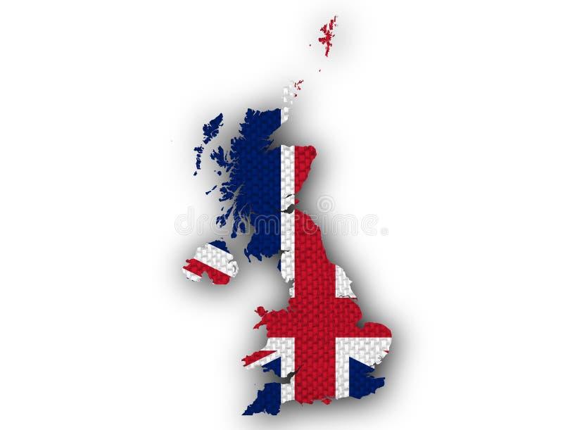 Carte et drapeau de la Grande-Bretagne sur la toile, illustration libre de droits
