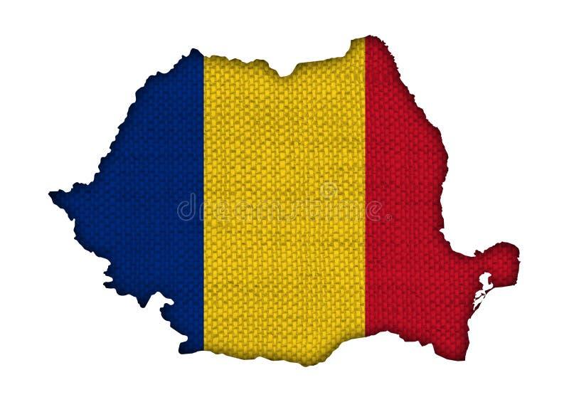 Carte et drapeau de la Roumanie sur la vieille toile images libres de droits
