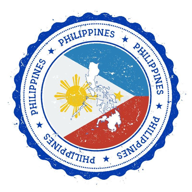 Carte et drapeau de Philippines dans le tampon en caoutchouc de vintage illustration de vecteur