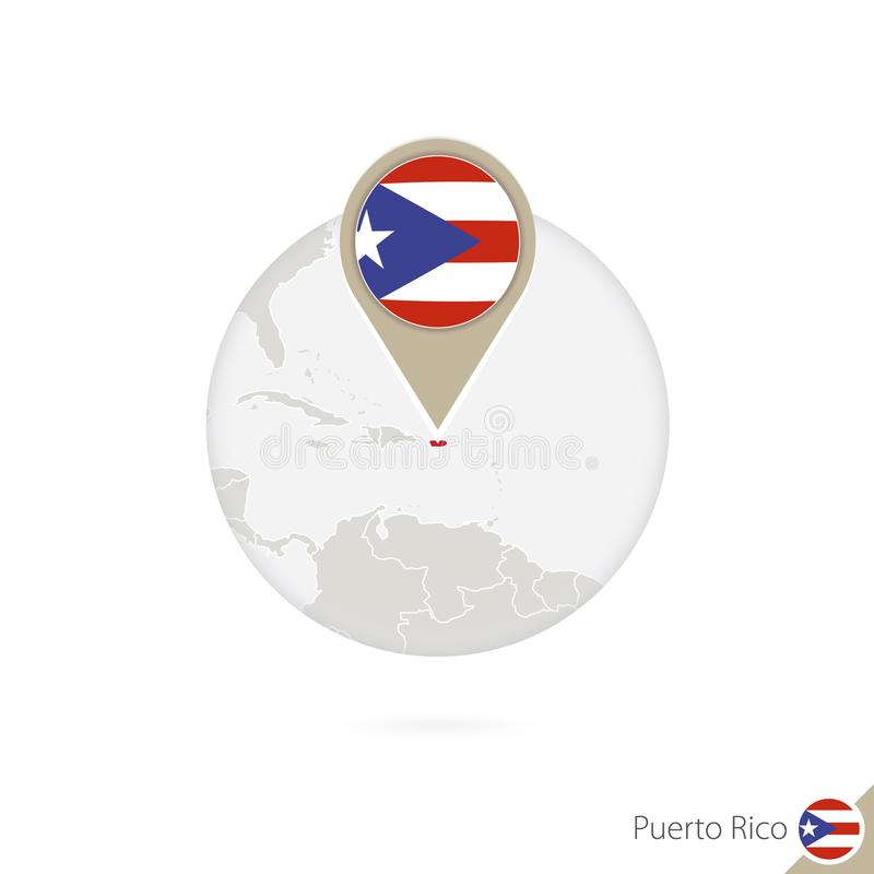 Carte et drapeau de Puerto Rico en cercle Carte goupille de drapeau de Puerto Rico, Puerto Rico Carte de Puerto Rico dans le styl illustration stock