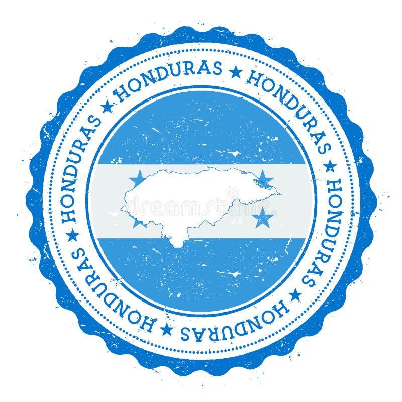 Carte et drapeau du Honduras dans le tampon en caoutchouc de vintage de illustration de vecteur
