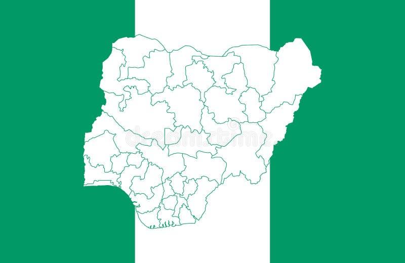 Carte et drapeau du Nigéria illustration libre de droits