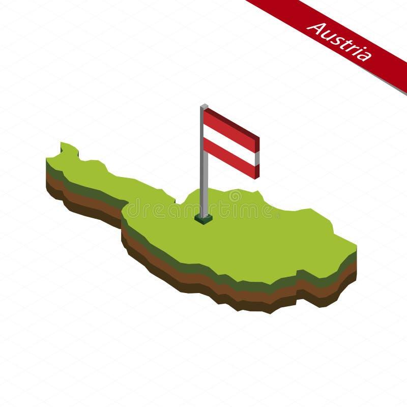 Carte et drapeau isométriques de l'Autriche Illustration de vecteur illustration stock