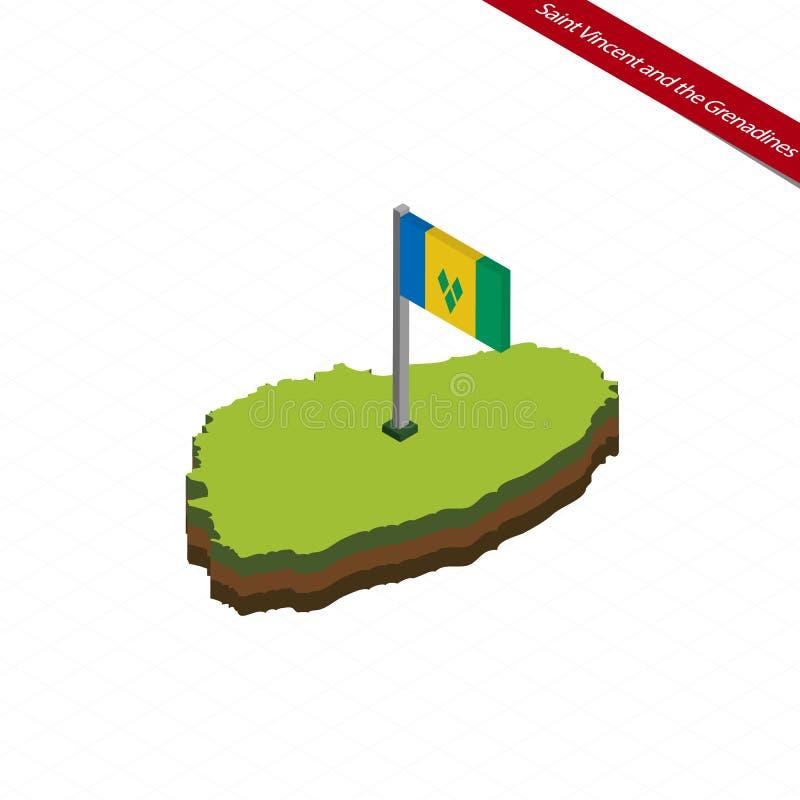 Carte et drapeau isométriques de Saint-Vincent-et-les-Grenadines Illustration de vecteur illustration de vecteur