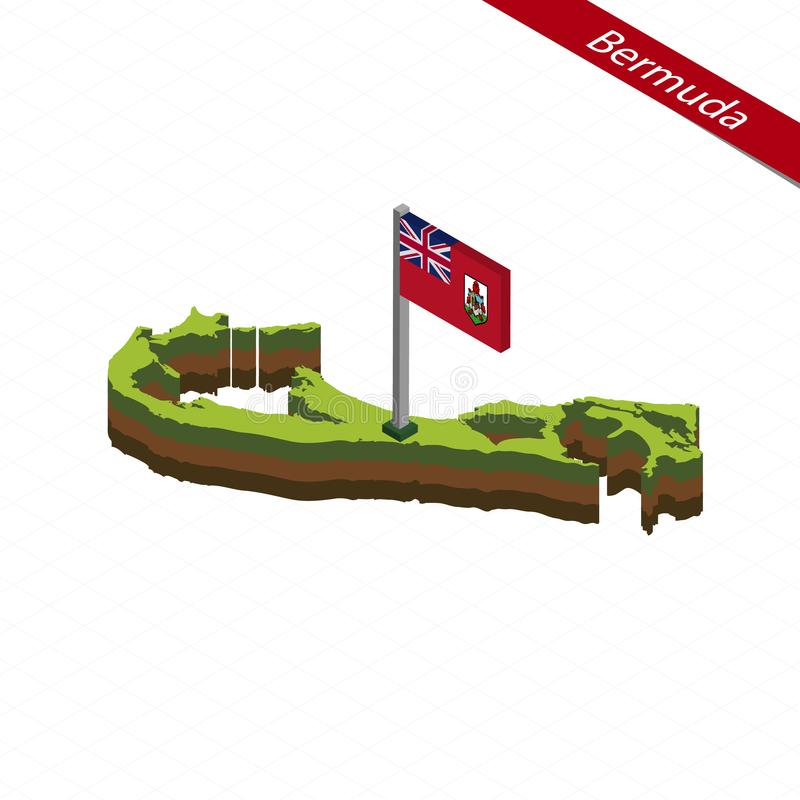 Carte et drapeau isométriques des Bermudes Illustration de vecteur illustration libre de droits