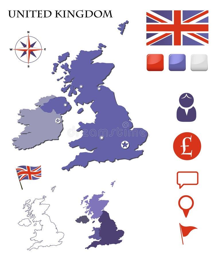 Carte Et Graphismes Du Royaume-Uni Réglés Photo stock