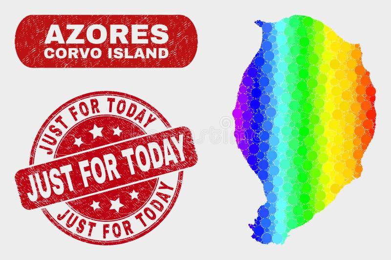 Carte et grunge d'île de Corvo de mosaïque de spectre juste pour aujourd'hui le timbre illustration de vecteur