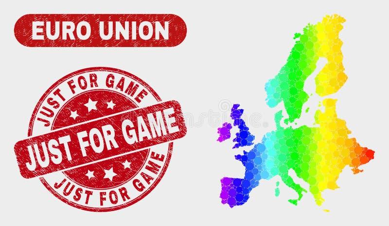 Carte et grunge des syndicats de mosaïque de spectre euro juste pour le joint de jeu illustration libre de droits