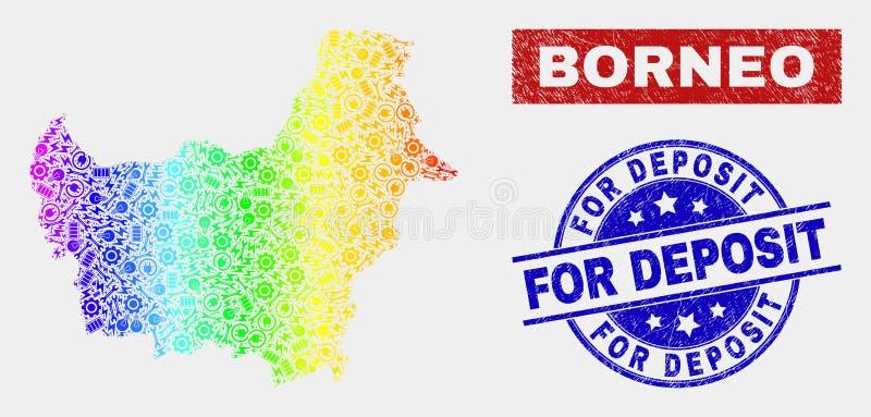 Carte et grunge du Bornéo de productivité de spectre pour des joints de timbre de dépôt illustration libre de droits