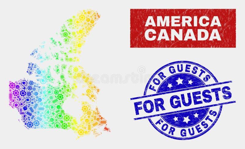 Carte et grunge du Canada V2 de service de spectre pour des joints d'invités illustration stock