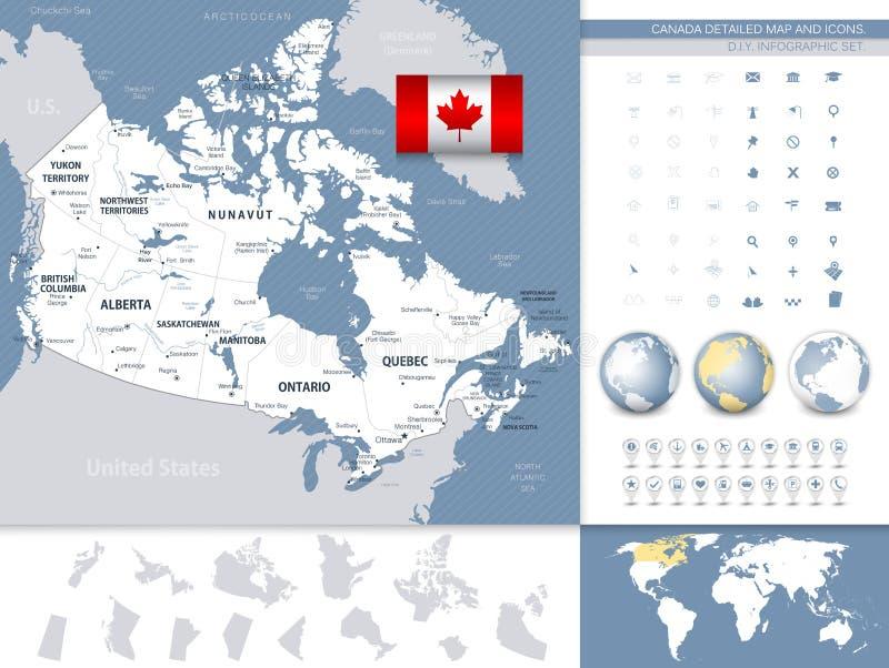 Carte et icônes détaillées de Canada Gris et bleu illustration stock