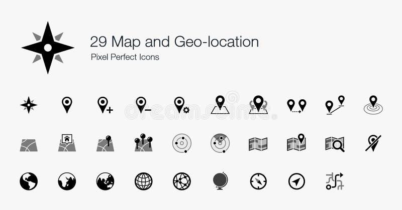 Carte 29 et icônes parfaites de pixel de Geo-emplacement illustration libre de droits