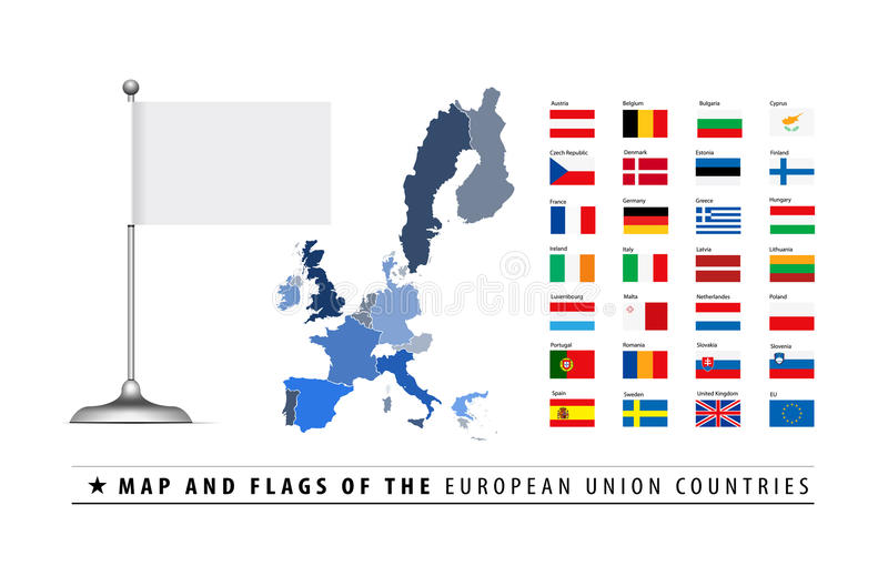 Carte et indicateur d'Union européenne illustration de vecteur
