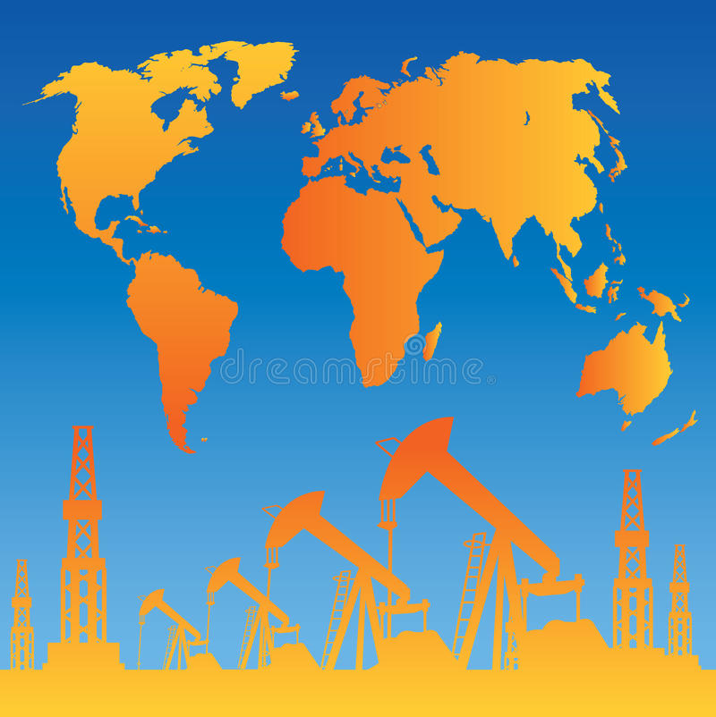 Carte et plate-forme pétrolière illustration de vecteur