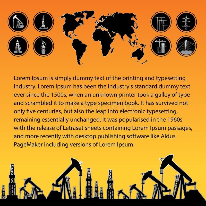 Carte et plate-forme pétrolière illustration stock