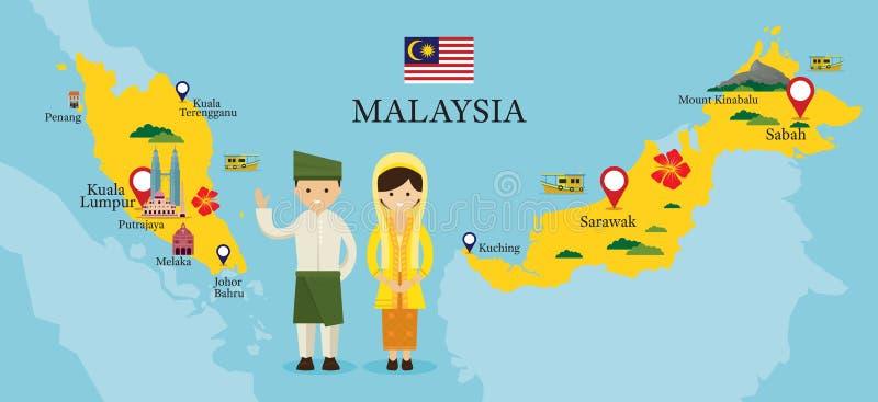 Carte et points de repère de la Malaisie avec des personnes dans l'habillement traditionnel illustration de vecteur