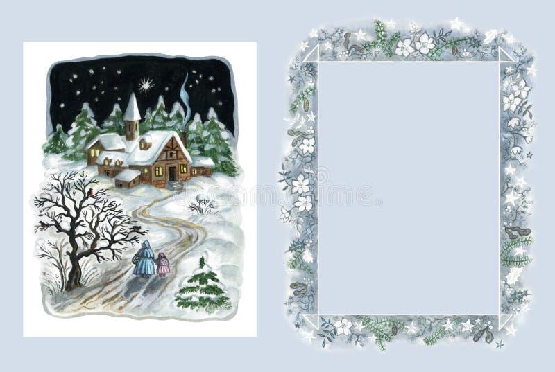 Carte et trame de Noël illustration stock