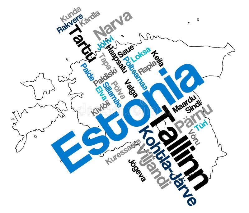 Carte et villes de l'Estonie illustration de vecteur