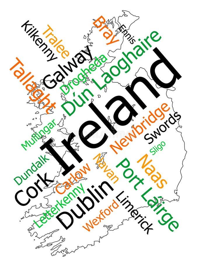 Carte et villes de l'Irlande illustration libre de droits
