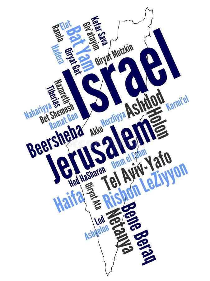 Carte et villes de l'Israël illustration stock