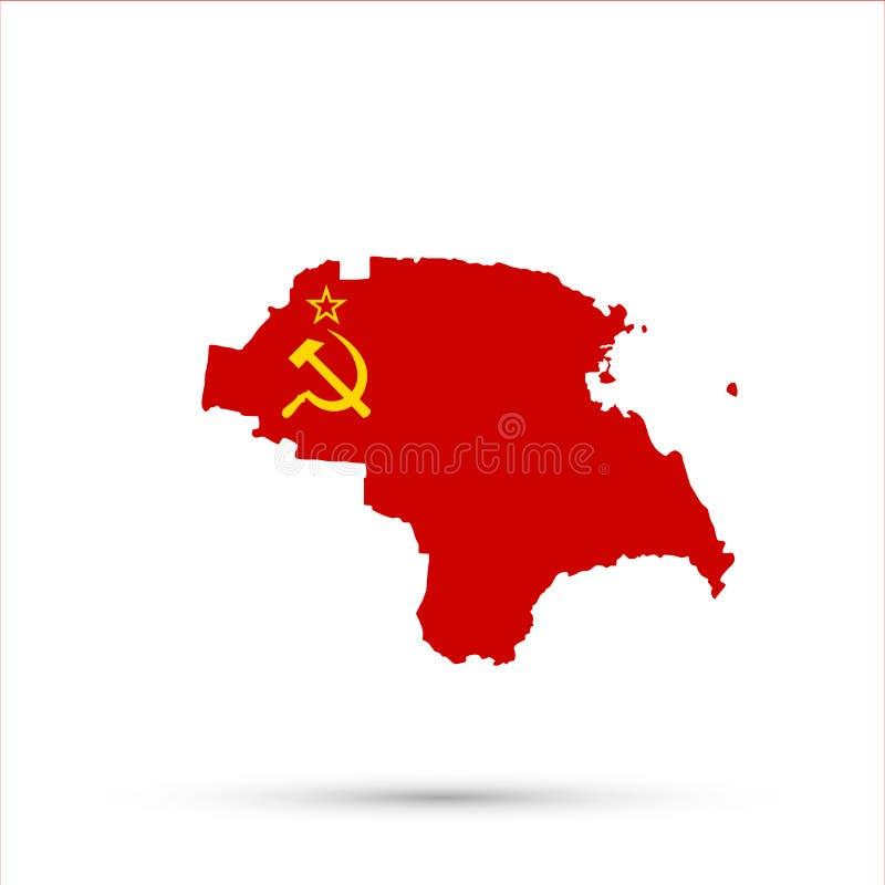 Carte ethnique de la Russie de territoire de Nogais dans des couleurs de drapeau de l'Union des Républiques Socialistes Soviétiqu illustration de vecteur