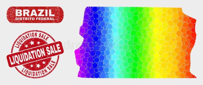 Carte fédérale spectrale du Brésil Distrito de mosaïque et timbre rayé de vente de liquidation illustration stock