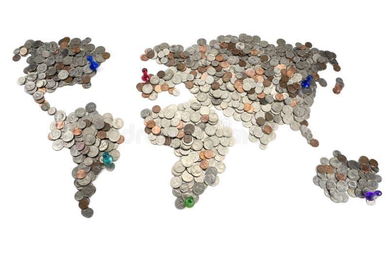 Carte faite de pièces de monnaie photo libre de droits
